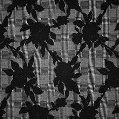 Floral Silhouette Plaid Double Knit Black/White - Fabric - Style Maker Fabrics