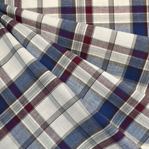 Plaid Organic Cotton Shirting Burgundy/Navy