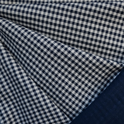 Reversible Check Cotton Double Cloth Navy/Cream