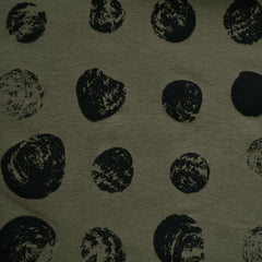 Stamped Spots Designer Bamboo Jersey Knit Olive - Fabric - Style Maker Fabrics