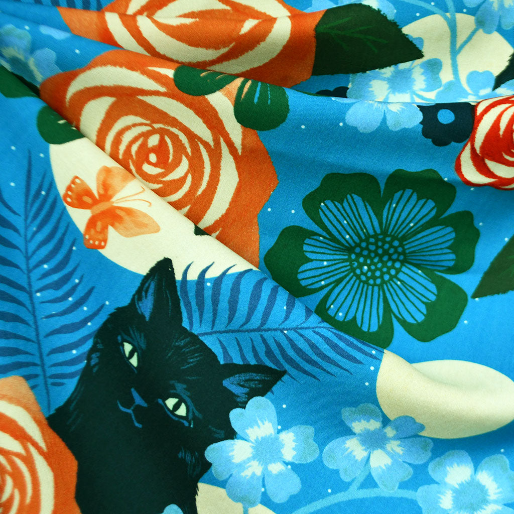 Ruby Star Magic Cat Rayon Teal - Fabric - Style Maker Fabrics