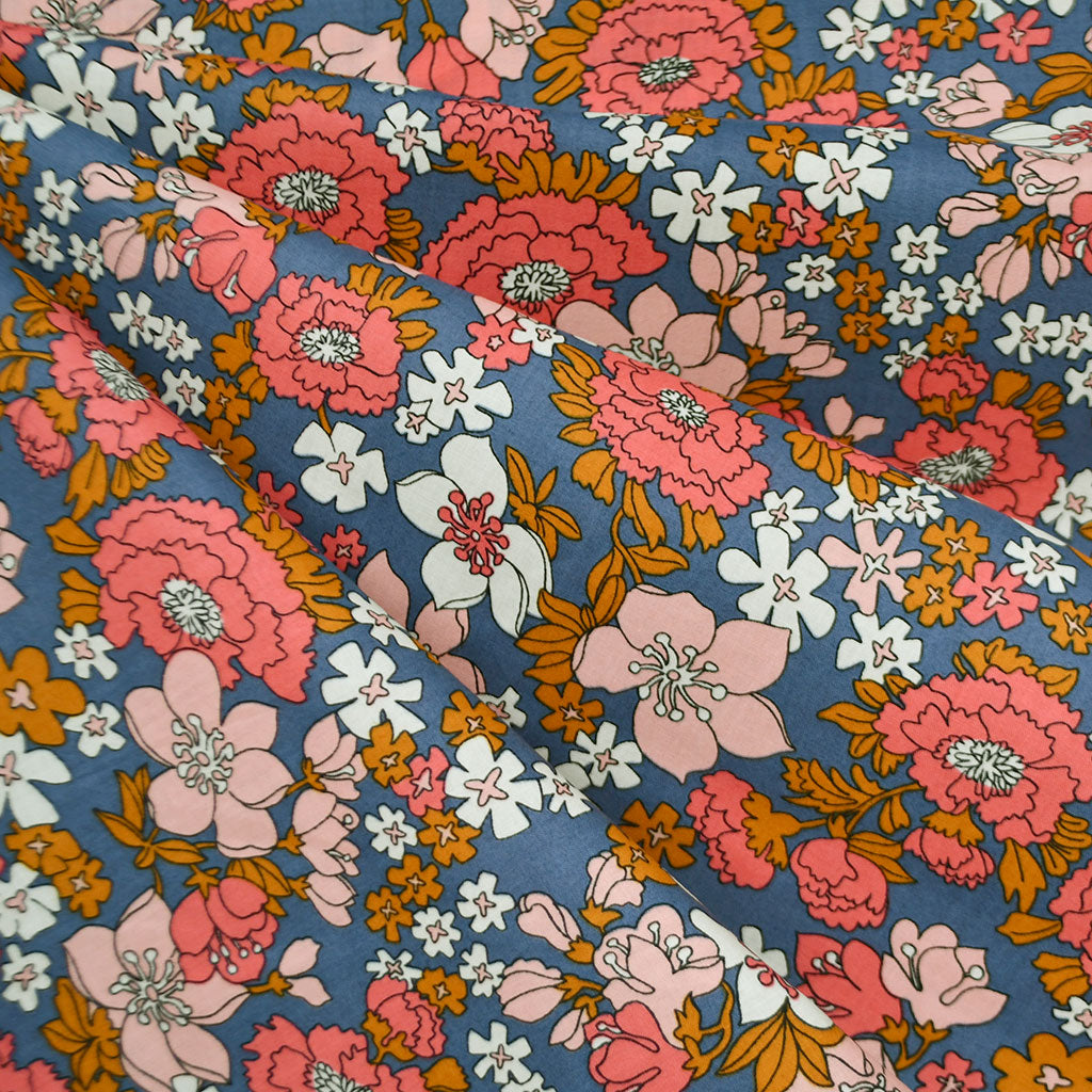 Ruby Star Lindley Floral Cotton Lawn Periwinkle - Fabric - Style Maker Fabrics