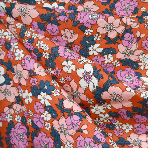 Ruby Star Lindley Floral Cotton Lawn Persimmon