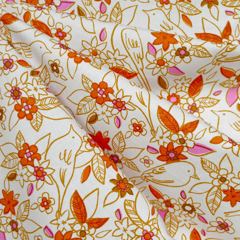 Ruby Star Aviary Botanical Cotton Ivory
