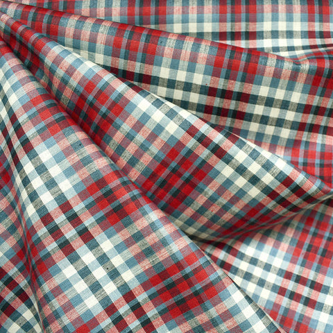 Americana Yarn Dyed Check Plaid Shirting Cream/Red/Blue SY
