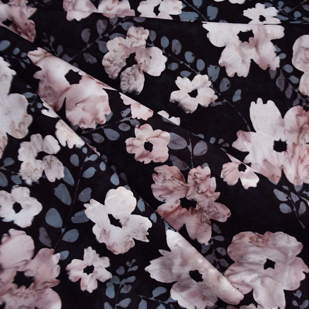 Handcrafted Cotton Batik Garden Floral Black/Blush - Fabric - Style Maker Fabrics