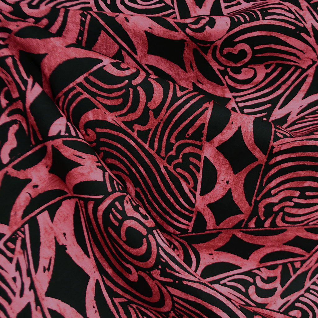 Polynesian Wave Print Rayon Poplin Shirting Black/Wine SY - Sold Out - Style Maker Fabrics