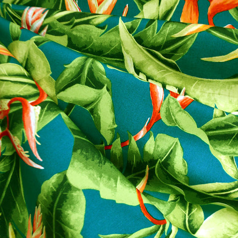 Tropical Foliage Hawaiian Cotton Shirting Teal