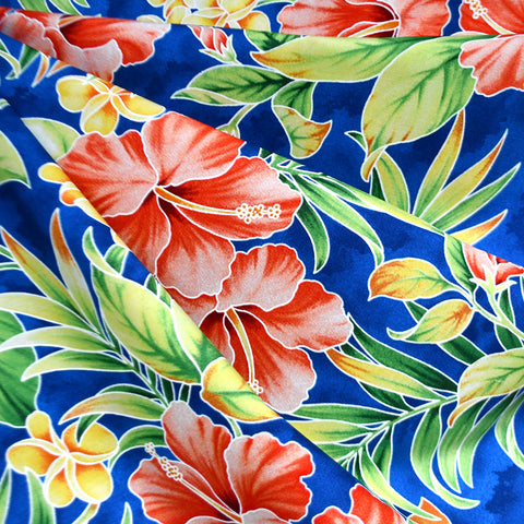 Artistic Hibiscus Floral Hawaiian Cotton Shirting Royal
