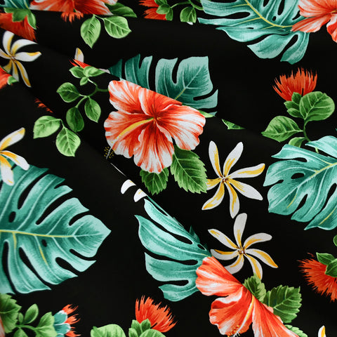 Hibiscus Floral Hawaiian Cotton Shirting Black/Multi