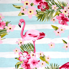 Flamingo Stripe Jersey Knit Aqua/White - Sold Out - Style Maker Fabrics
