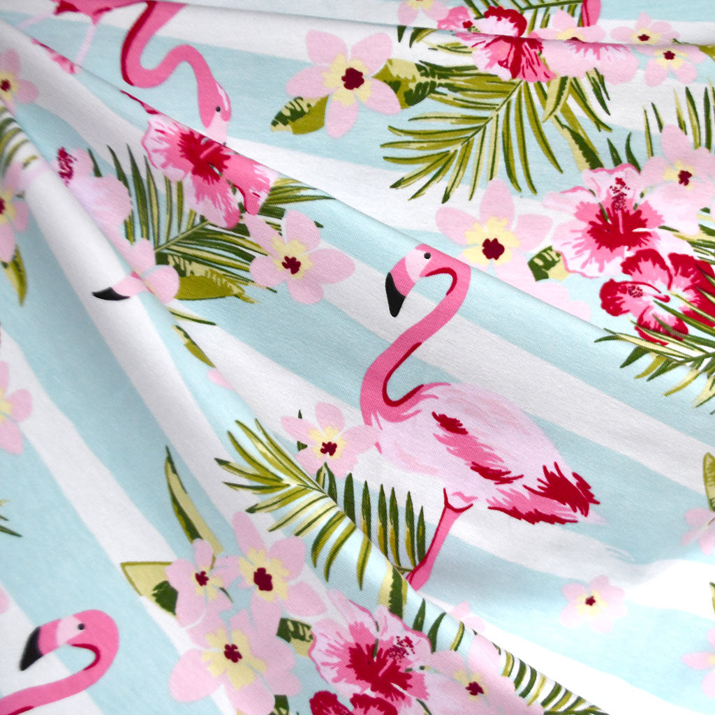 Flamingo Stripe Jersey Knit Aqua/White - Fabric - Style Maker Fabrics