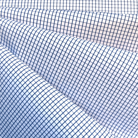 Designer Windowpane Check Cotton Shirting Blue/White