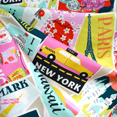 Travel Postcard Collage Print Cotton Multi