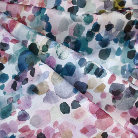 Watercolor Dot Digital Print Cotton Teal