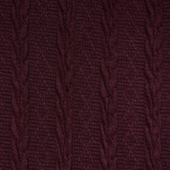 Soft Cable Stripe Sweater Knit Wine - Fabric - Style Maker Fabrics
