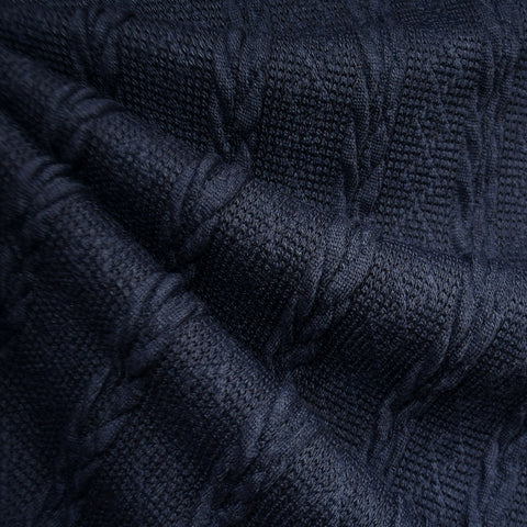Soft Cable Stripe Sweater Knit Navy