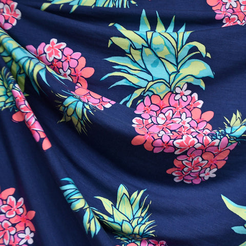 Designer Floral Pineapple Rayon Jersey Navy/Coral