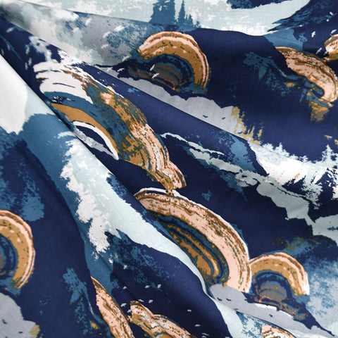 Earthen Abstract Landscape Rayon Blue