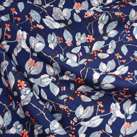 Earthen Branches and Berries Rayon Navy