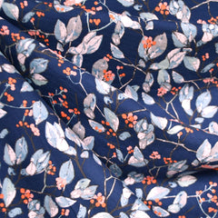 Earthen Branches and Berries Jersey Knit Navy - Sold Out - Style Maker Fabrics