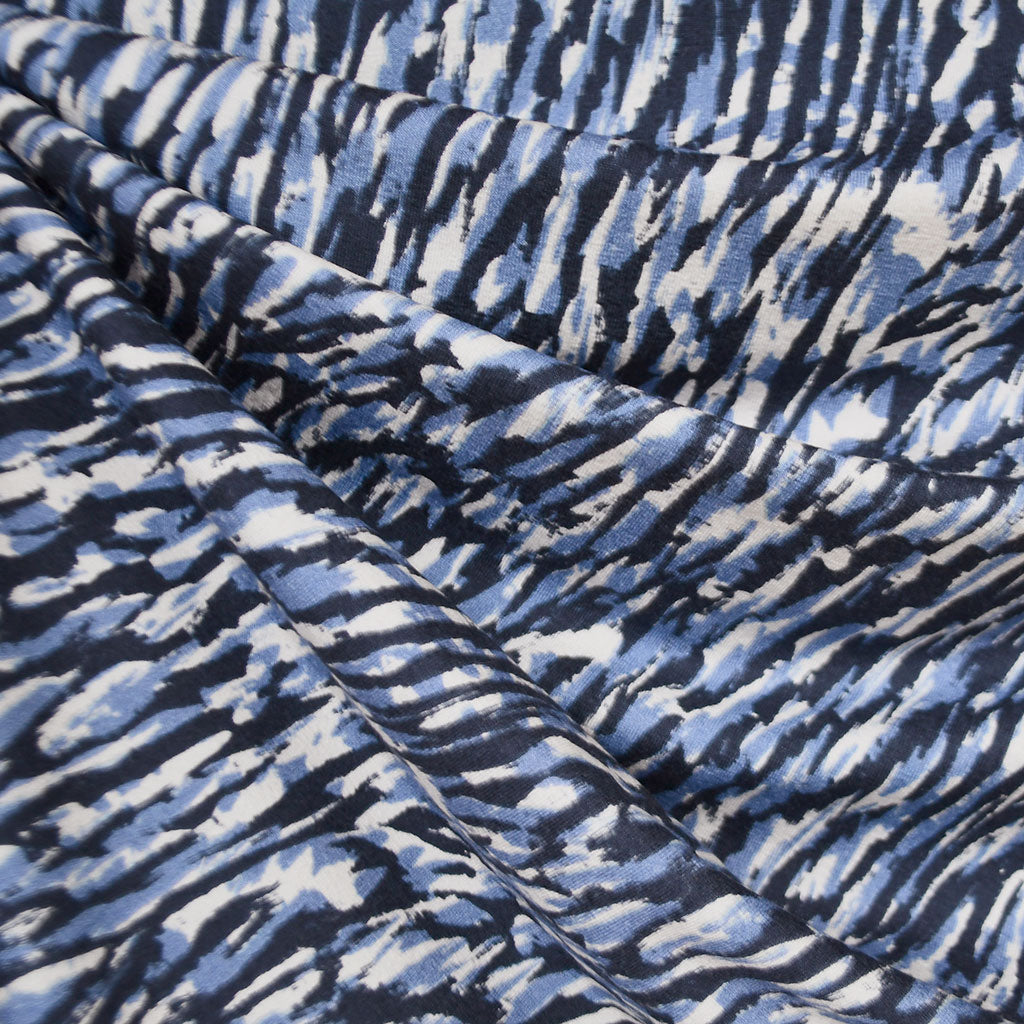 Layered Brushstroke Rayon Jersey Navy/Blue - Fabric - Style Maker Fabrics