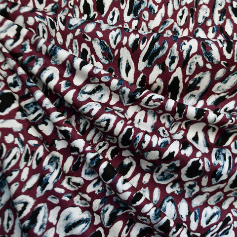 Abstract Geode Collage Rayon Jersey Burgundy