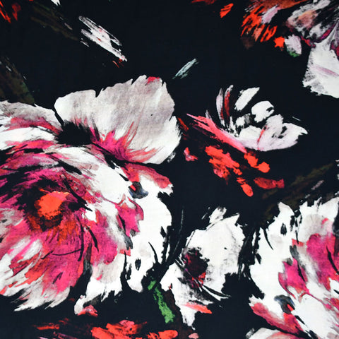 Statement Watercolor Floral Rayon Black/Fuchsia