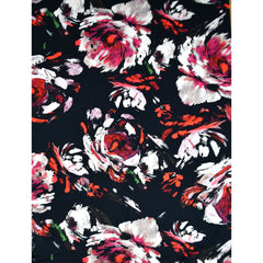 Statement Watercolor Floral Rayon Black/Fuchsia - Fabric - Style Maker Fabrics