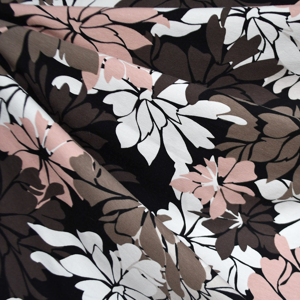 Modern Statement Floral Jersey Knit Taupe/Blush SY - Sold Out - Style Maker Fabrics