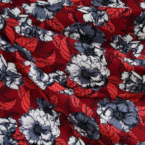 Layered Botanical Floral Jersey Knit Crimson