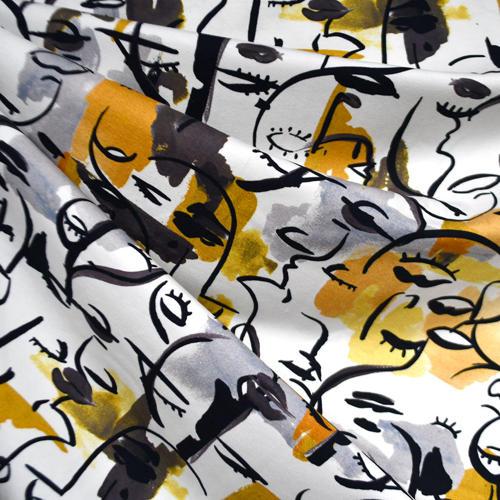 Watercolor Cubist Faces Jersey Knit Cream/Mustard - Fabric - Style Maker Fabrics