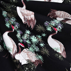 Asian Red-Crowned Crane Jersey Knit Black SY - Sold Out - Style Maker Fabrics