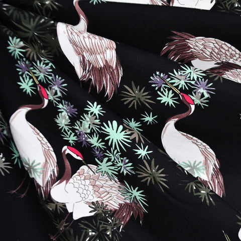 Asian Red-Crowned Crane Jersey Knit Black