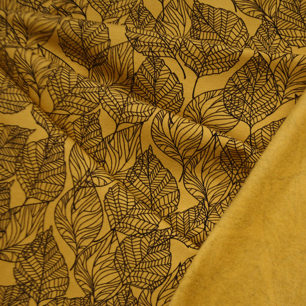 Layered Leaf Outline Sweatshirt Fleece Mustard - Fabric - Style Maker Fabrics