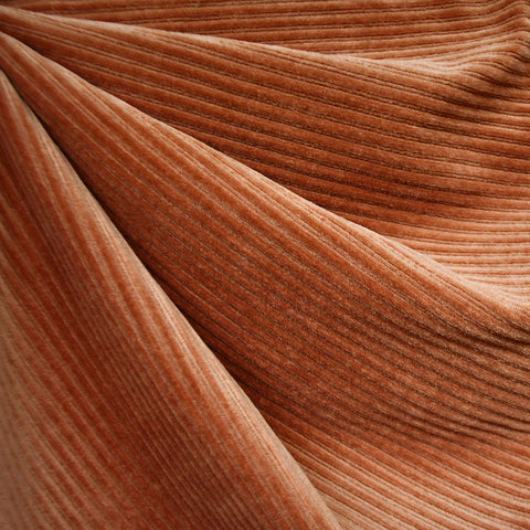 Plush Corduroy Velour Knit Solid Rust SY