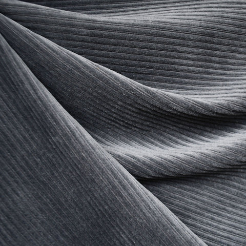 Plush Corduroy Velour Knit Solid Charcoal