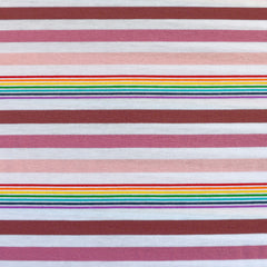 Variegated Rainbow Stripe Jersey Knit Rose/Multi - Sold Out - Style Maker Fabrics