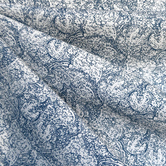 Paisley Lace Print Stretch Cotton Twill Vanilla/Blue - Sold Out - Style Maker Fabrics