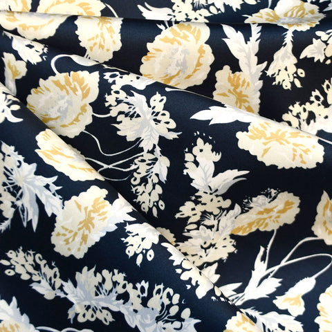 Botanical Floral Stretch Sateen Navy/Mustard