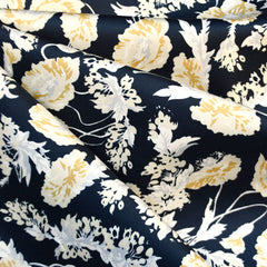 Botanical Floral Stretch Sateen Navy/Mustard SY - Sold Out - Style Maker Fabrics