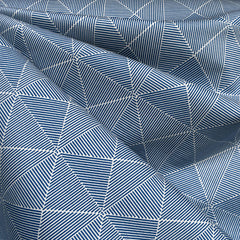 Sketch Geometric Stretch Twill Blue/White - Sold Out - Style Maker Fabrics