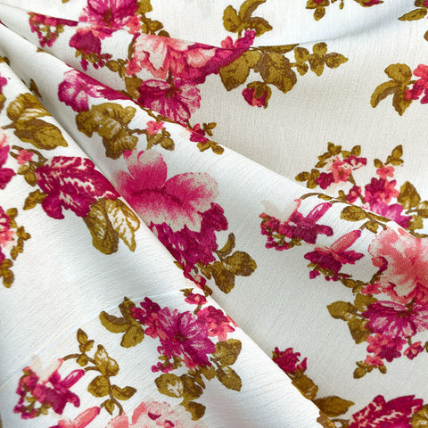 Feminine Spring Floral Rayon Crepe Vanilla/Rose SY
