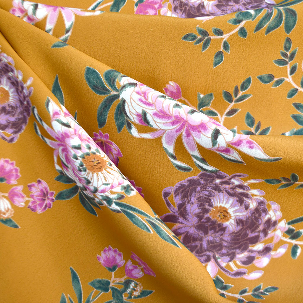 Vintage Mumm Floral Rayon Crepe Mustard SY - Sold Out - Style Maker Fabrics