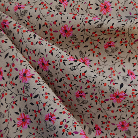 Ditsy Vine Floral Rayon Crepe Taupe/Fuchsia