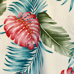 Tropical Foliage Rayon Shirting Cream/Multi SY - Sold Out - Style Maker Fabrics