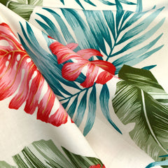 Tropical Foliage Rayon Shirting Cream/Multi - Fabric - Style Maker Fabrics