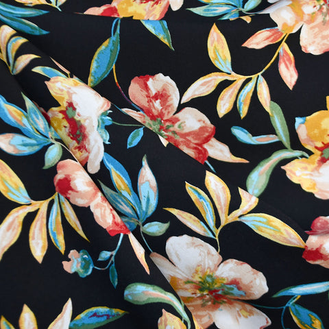 Spring Watercolor Floral Rayon Challis Black/Multi
