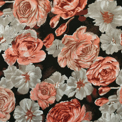 Vintage Romantic Floral Rayon Challis Black/Coral - Fabric - Style Maker Fabrics