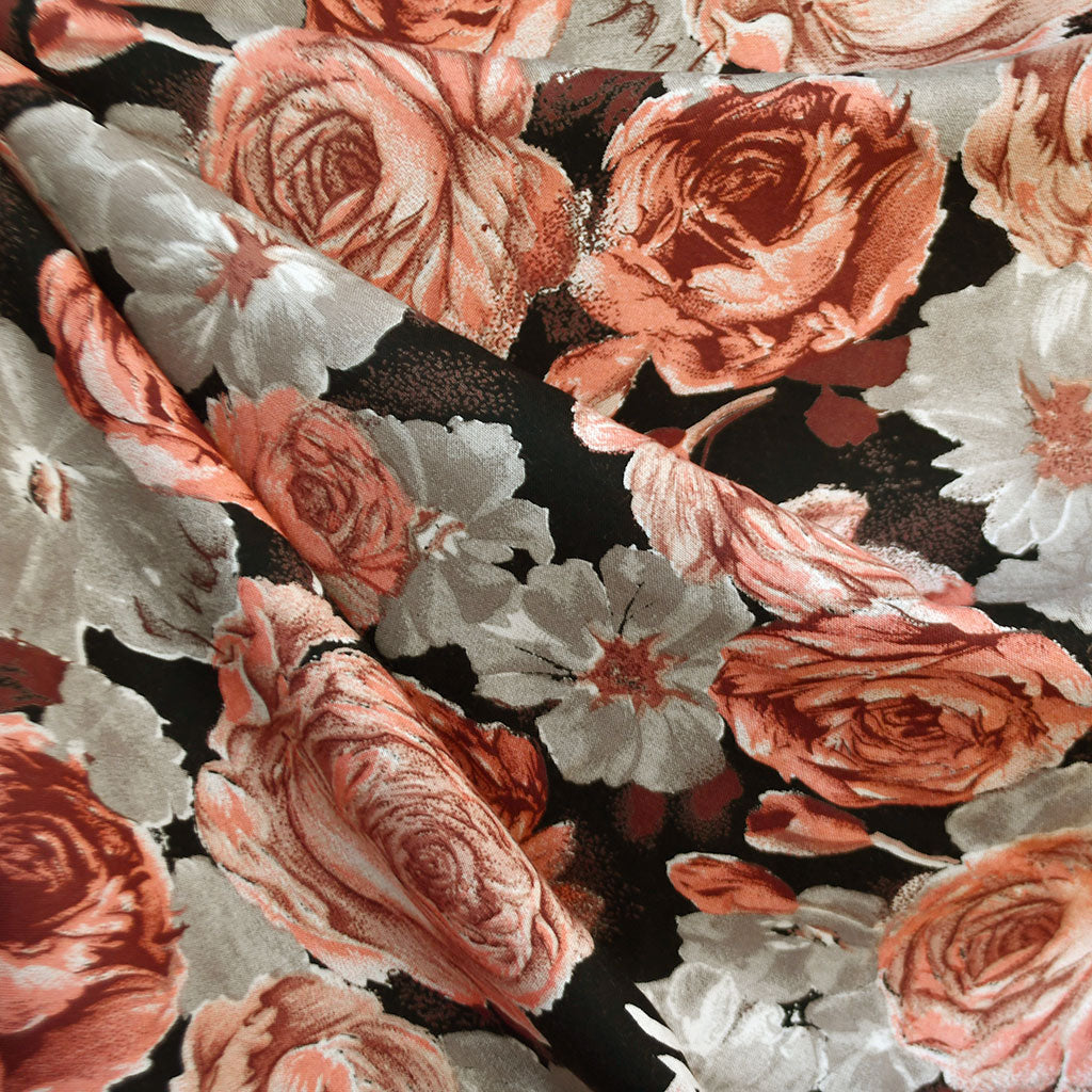 Vintage Romantic Floral Rayon Challis Black/Coral - Sold Out - Style Maker Fabrics